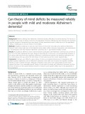 Can theory of mind deficits be measured reliably in people with mild and moderate Alzheimer's dementia