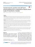 Socioeconomic position and self-harm among adolescents: A population-based cohort study in Stockholm, Sweden