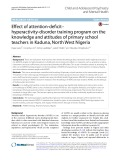 Effect of attention-deficit– hyperactivity-disorder training program on the knowledge and attitudes of primary school teachers in Kaduna, North West Nigeria