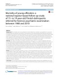 Mortality of young ofenders: A national register-based follow-up study of 15- to 19-year-old Finnish delinquents referred for forensic psychiatric examination between 1980 and 2010