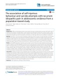 The association of self-injurious behaviour and suicide attempts with recurrent idiopathic pain in adolescents: Evidence from a population-based study