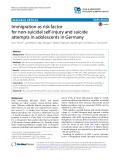 Immigration as risk factor for non-suicidal self-injury and suicide attempts in adolescents in Germany