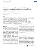Determination of Auramine O in animal feedstuffs using ultra performance liquid chromatography tandem mass spectrometry