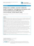 Adolescents' multiple, recurrent subjective health complaints: Investigating associations with emotional/behavioural difficulties in a cross-sectional, school-based study