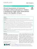 Clinical characteristics of enteroviral meningitis without pleocytosis in children: A retrospective single center observational study in the Republic of Korea