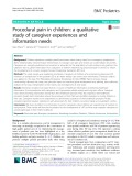 Procedural pain in children: A qualitative study of caregiver experiences and information needs