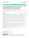 Cultural adaptation and harmonization of four Nordic translations of the revised Premature Infant Pain Profile (PIPP-R)