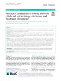 Functional constipation in infancy and early childhood: Epidemiology, risk factors, and healthcare consultation