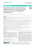 Perioperative effects of caudal block on pediatric patients in laparoscopic upper urinary tract surgery: A randomized controlled tria