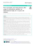 Poor oral habits and malocclusions after usage of orthodontic pacifiers: An observational study on 3–5 years old children