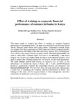 Effect of training on corporate financial performance of commercial banks in Kenya