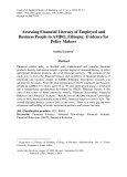Assessing financial literacy of employed and business people in AMBO, Ethiopia: Evidence for policy makers