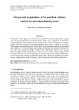 Mergers and acquisitions: a pre-post risk – return analysis for the Indian banking sector