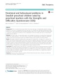 Emotional and behavioural problems in Swedish preschool children rated by preschool teachers with the Strengths and Difficulties Questionnaire (SDQ)