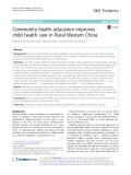 Community health education improves child health care in Rural Western China