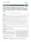 A pilot study to determine the short-term effects of milk with differing glycaemic properties on sleep among toddlers: A randomised controlled trial
