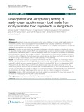 Development and acceptability testing of ready-to-use supplementary food made from locally available food ingredients in Bangladesh