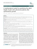 A mathematical model for predicting the adult height of girls with advanced puberty after spontaneous growth