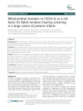 Mitochondrial mutation m.1555A>G as a risk factor for failed newborn hearing screening in a large cohort of preterm infants
