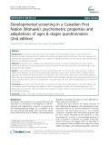 Developmental screening in a Canadian First Nation (Mohawk): Psychometric properties and adaptations of ages & stages questionnaires (2nd edition)