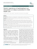 Parents' experiences of participating in an intervention on tobacco prevention in Child Health Care