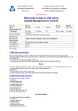 Đề cương môn học Kiểm soát và quản lý chất lượng (Quality Management & Control)