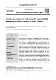 Vietnamese consumers' preferences for traceable food and safety attributes: The case of water spinach