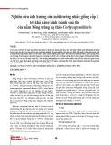 Nghiên cứu ảnh hưởng của môi trường nhân giống cấp 1 tới khả năng hình thành quả thể của nấm Đông trùng hạ thảo Cordyceps militaris