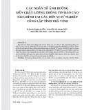 Các nhân tố ảnh hưởng đến chất lượng thông tin báo cáo tài chính tại các đơn vị sự nghiệp công lập tỉnh Trà Vinh