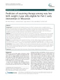 Predictors of receiving therapy among very low birth weight 2-year olds eligible for Part C early intervention in Wisconsin