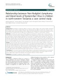 Relationship between Non-Hodgkin's lymphoma and blood levels of Epstein-Barr Virus in children in north-western Tanzania: A case control study