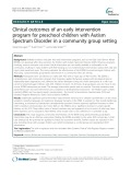 Clinical outcomes of an early intervention program for preschool children with Autism Spectrum Disorder in a community group setting