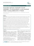 Association between interleukin 1β and interleukin 10 concentrations: A cross-sectional study in young adolescents in Taiwan