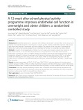 A 12-week after-school physical activity programme improves endothelial cell function in overweight and obese children: A randomised controlled study