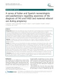 A survey of Italian and Spanish neonatologists and paediatricians regarding awareness of the diagnosis of FAS and FASD and maternal ethanol use during pregnancy