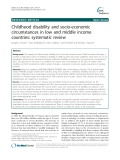Childhood disability and socio-economic circumstances in low and middle income countries: Systematic review