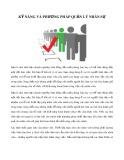 Kỹ năng và phương pháp quản lý nhân sự