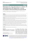 Medications for sleep disturbance in children and adolescents with depression: A survey of Canadian child and adolescent psychiatrists