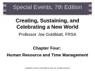 Lecture Special events: Creating, sustaining, and celebrating a new world (7th edition): Chapter 4 - Joe Goldblatt