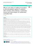 Efficacy and safety of adding rivaroxaban to the anti-platelet regimen in patients with coronary artery disease: A systematic review and meta-analysis of randomized controlled trials
