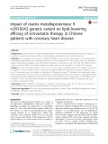 Impact of matrix metalloproteinase 9 rs3918242 genetic variant on lipid-lowering efficacy of simvastatin therapy in Chinese patients with coronary heart disease