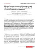 Effect of preparation conditions on arsenic rejection performance of polyamide-based thin film composite membranes