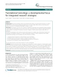 Translational toxicology: A developmental focus for integrated research strategies