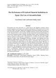 The performance of privatized financial institutions in Egypt: The case of Alexandria bank