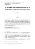 On the efficiency of the corporate bond market and the rating agencies: Evidence from the israeli bond market
