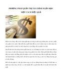Phương pháp quản trị tài chính ngắn hạn một cách hiệu quả