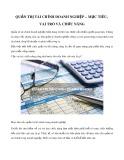 Quản trị tài chính doanh nghiệp - Mục tiêu, vai trò và chức năng