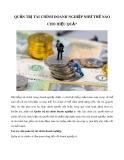 Quản trị tài chính doanh nghiệp như thế nào cho hiệu quả?