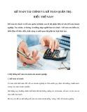 Kế toán tài chính và kế toán quản trị - Hiểu thế nào?