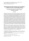 Risk management after mergers and acquisitions. evidence from the Greek banking system